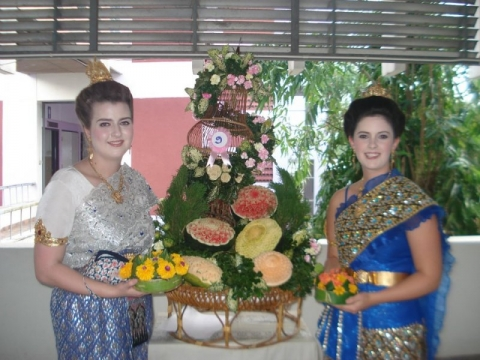 Sarah and Bess getting ready for a parade, Thailand.